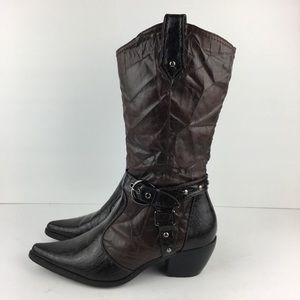 Pierre Dumas Tall Brown Cowboy Western Boots Sz10